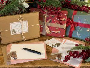 Tan Horse Notepaper & Notecard Stationery Set - £18